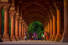 Jaipur, India - September 19, 2017: Unidentified people walking inside of Muslim architecture detail of Diwan-i-Am, or Stock Photo
