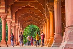 Jaipur, India - September 19, 2017: Unidentified people walking inside of Muslim architecture detail of Diwan-i-Am, or Royalty Free Stock Images