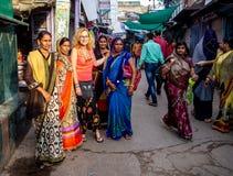 Jaipur Indien, dagliga platser av lokalt folk arkivbild