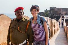 JAIPUR INDIEN - JANUARI 12, 2018: Amer Fort gul fort Royaltyfri Fotografi