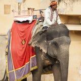 JAIPUR INDIEN - JANUARI 28, 2017: Den oidentifierade manritten dekorerar Arkivfoto