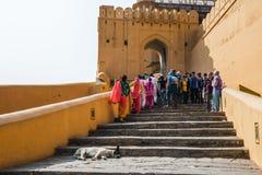 JAIPUR INDIEN - JANUARI 12, 2018: Turister klättrar stegen Amer Fort Arkivbild