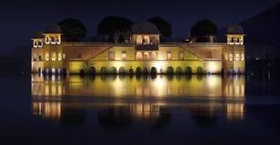 Jaipur Lake Palace (Jal Mahal) at night Royalty Free Stock Photos