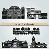 Jaipur Landmarks. And monuments isolated on blue background in editable vector file Royalty Free Stock Photo