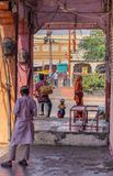 Street in the market of Jaipur stock photography