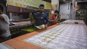 JAIPUR, Rajasthan, India †'DEC, 2016: Blokowy druk dla Texti Obrazy Royalty Free