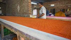 JAIPUR, Rajasthan, India †'DEC, 2016: Blokowy druk dla Texti Zdjęcia Royalty Free