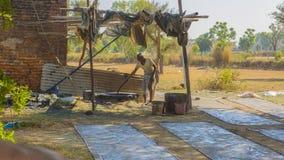 JAIPUR, Rajasthan, India †'DEC, 2016: Tekstylny barwiarstwo z natu Obrazy Stock