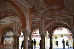 Jaipur, Rajasthan, India: Pretty interiors of City Palace in Jaipur India, tourists enjoying the architecture of the palace royalty free stock images