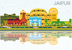 Jaipur Skyline with Color Buildings, Blue Sky and Reflections. Vector Illustration. Business Travel and Tourism Concept. Image for Presentation Banner Placard Royalty Free Stock Photos