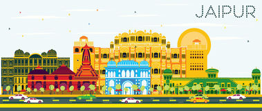 Jaipur Skyline with Color Buildings and Blue Sky. Vector Illustration. Business Travel and Tourism Concept. Image for Presentation Banner Placard and Web Site Stock Photo