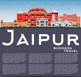 Jaipur Skyline with Color Landmarks, Blue Sky and Copy Space. Vector Illustration. Business Travel and Tourism Concept with Historic Buildings. Image for Royalty Free Stock Photos
