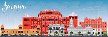 Jaipur Skyline with Color Landmarks and Blue Sky. Vector Illustration. Business Travel and Tourism Concept with Historic Buildings. Image for Presentation Stock Images