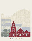 Jaipur skyline poster. In editable vector file Stock Image
