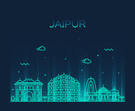 Jaipur skyline trendy vector illustration linear. Jaipur skyline detailed silhouette Trendy vector illustration, linear style Stock Image