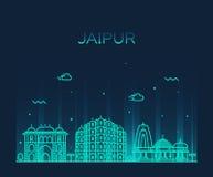 Jaipur skyline trendy vector illustration linear Stock Image