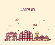 Jaipur skyline trendy vector illustration linear. Jaipur skyline detailed silhouette Trendy vector illustration, linear style Stock Photography