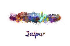 Jaipur skyline in watercolor. Splatters with clipping path Royalty Free Stock Photos