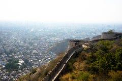 Jaipur stadssikt från det Nahargarh fortet Arkivfoton