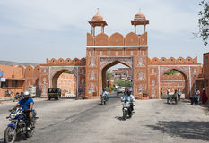 Jaipur-Stadtwand, die rosafarbene Stadt Stockfoto