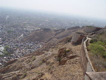 Jaipur vieja de las azoteas de la fortaleza del tigre Imagenes de archivo