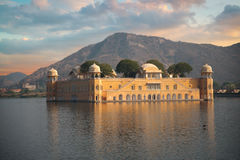 Jaipur. Water Palace in the middle of the lake Stock Image