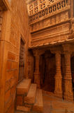 Jaisalmer堡垒被雕刻的墙壁  免版税库存图片