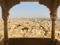 从Jaisalmer堡垒,印度的看法 免版税库存照片