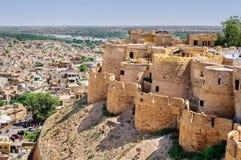 Jaisalmer市俯视图从Jaisalmer金黄堡垒的, 库存照片