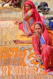 JAISALMER,拉贾斯坦,印度- 2017年12月20日:妇女画象有五颜六色的礼服和佩带的珠宝的 这些妇女卖 库存照片