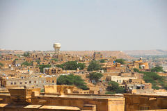 The Jaisalmer city. Jaisalmer is a small town in the state of Rajasthan. The town is named after its founder Maharawal Jaisal Singh, a Rajput king. It is also Stock Image