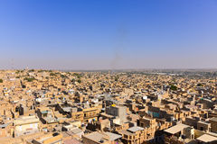 Jaisalmer City in Western India. Jaisalmer City in the Indian state of Rajasthan.  It lies in the heart of the Thar Desert and has nickname  The Golden city Stock Images