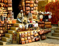 Jaisalmer de couro da loja do artesanato Imagem de Stock