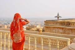 Jaisalmer fort. Girl in Jaisalmer fort, India Stock Photos