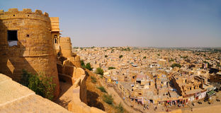 Jaisalmer fort and city. Panoramic view of Golden fort and Jaisalmer city as viewed from the the top of the fort royalty free stock photos