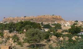 Jaisalmer Fort. Rajasthan, seen from Vyas Chhatri, the Brahmin cenotaphs Royalty Free Stock Image