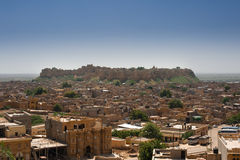 Jaisalmer - Fortress City. WS: Sweltering under the fierce sun, in the western desert of India, less than 100km from the Pakistan border, sits the impenetrable royalty free stock images