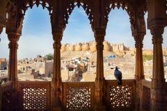 Jaisalmer fortsikt från Haveli Arkivbilder