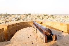 Ancient cannon in Jaisalmer Fort. Jaisalmer, India - Circa March, 2018. Ancient cannon in Jaisalmer Fort stock photo