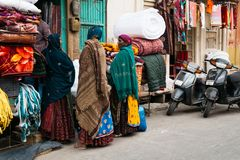 Indian old street market at winter in Jaisalmer, India royalty free stock photography