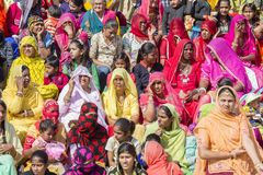 Indian people in Desert Festival in Jaisalmer, Rajasthan, India Stock Photo