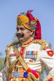Portrait men wearing traditional Rajasthani dress participate in Mr. Desert contest as part of Desert Festival in Jaisalmer, Rajas Royalty Free Stock Image