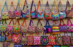 Colorful bags for sale stock photography