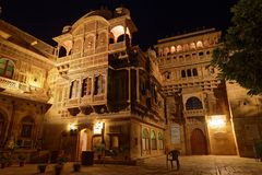 Mandir Palace entrance by night Royalty Free Stock Images