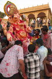 JAISALMER, INDIA - SEPTEMBER 8th: Devotees carying the statue of Lord Ganesha during Ganesha Chaturthi festival Royalty Free Stock Photography