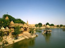 Jaisalmer Lake. Lake with beautiful buildings in Jaisalmer, Rajasthan, India stock photography