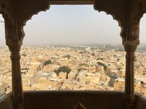 Jaisalmer Panorama. View from a balcony inside Jaisalmer Fort, Rajasthan, India Stock Images