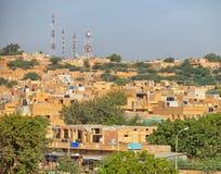 Jaisalmer, Rajasthan, Ινδία Πύργοι πόλεων και κυττάρων Στοκ Εικόνες