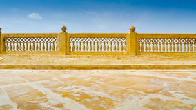 Jaisalmer Terrace. Royal Palace top terrace ornate railing, Jaisalmer Rajasthan, India stock photo