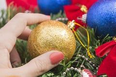 jaja pudełka gałąź święta handbell ozdób Zdjęcie Royalty Free